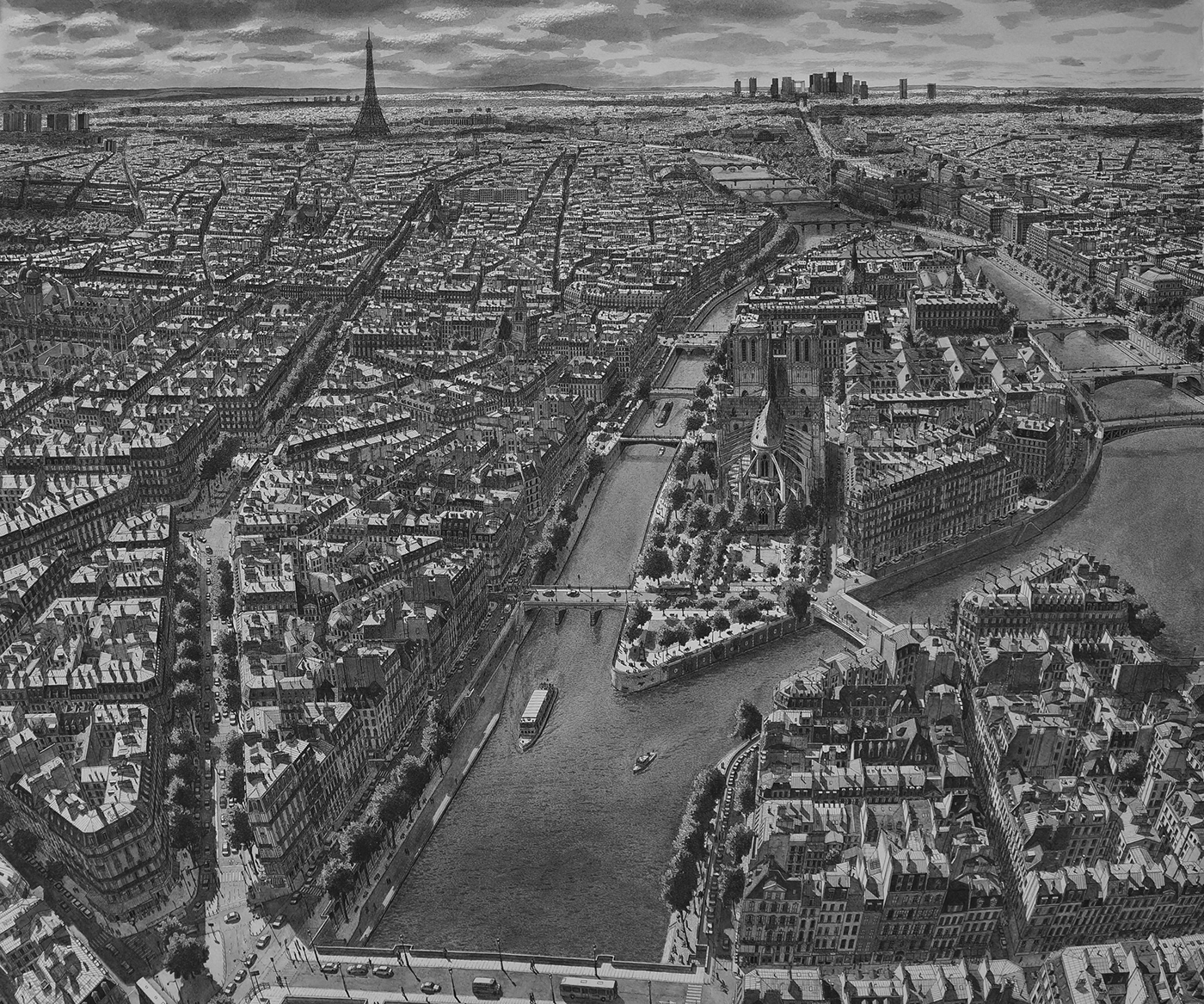 architecture art city cityscape Drawing  france Paris Perspective Realism urban.