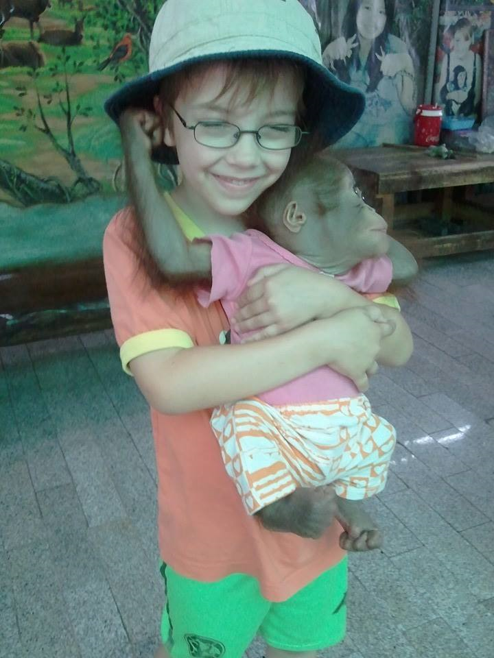 Owen and orangutan. Image: Eliana Osborn.