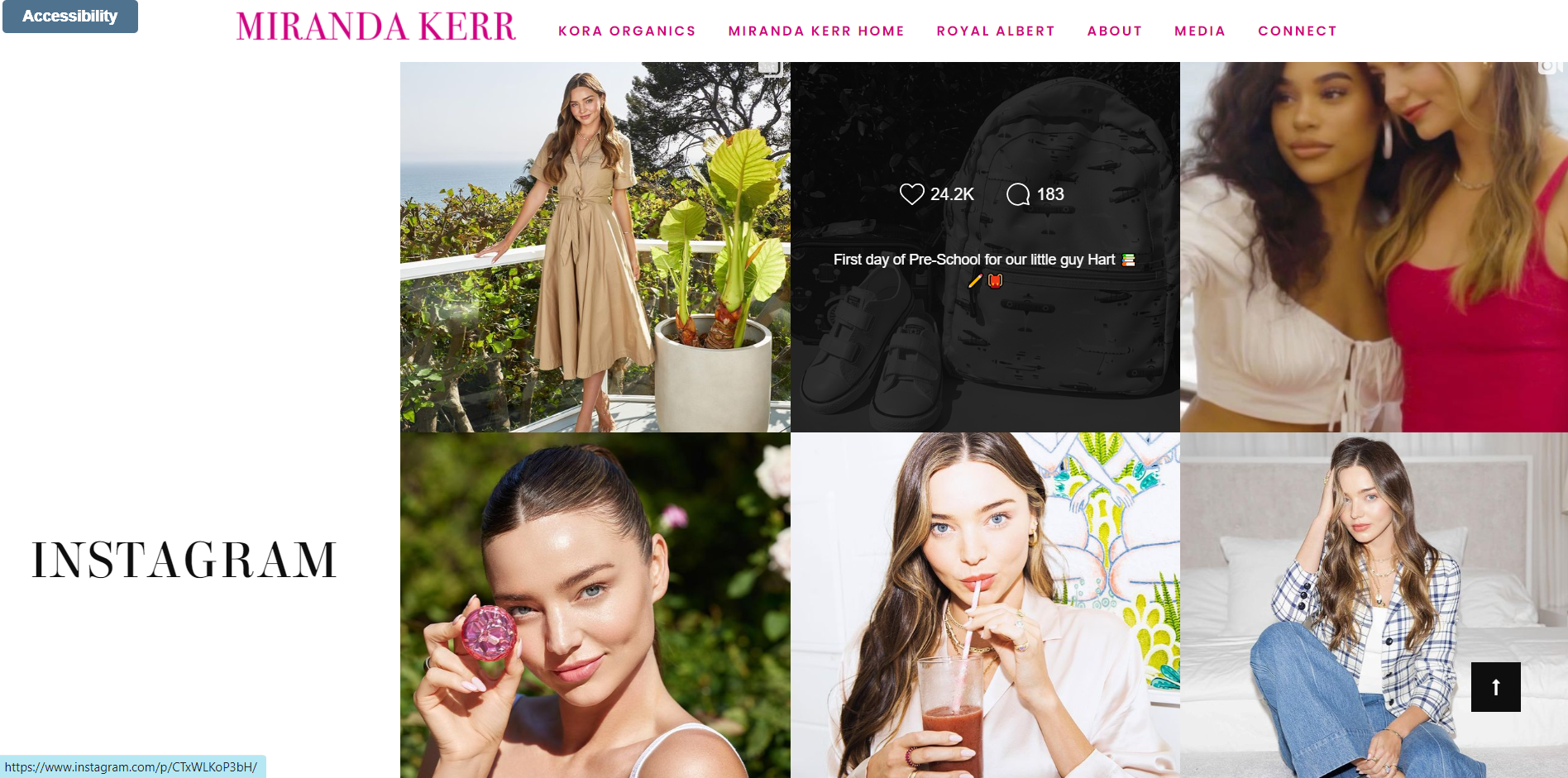 An example of a social media section of a model portfolio website