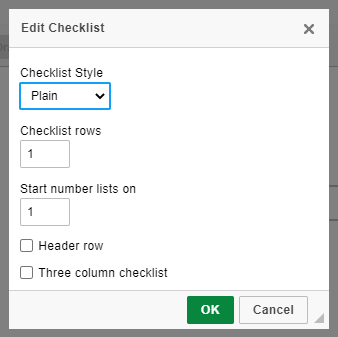 add and edit a checklist in Web Manuals