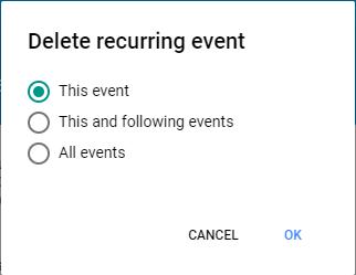 Google Calendar Delete Repeating Event Options