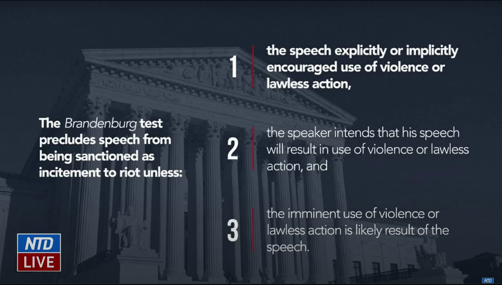 The Defense implored the Senate to use the Supreme Court's Brandenburg Test as a legal standard to determine if Trump's words on Jan. 6 constituted an incitement to riot as alleged in the single Article of Impeachment put forward by the House of Representatives.