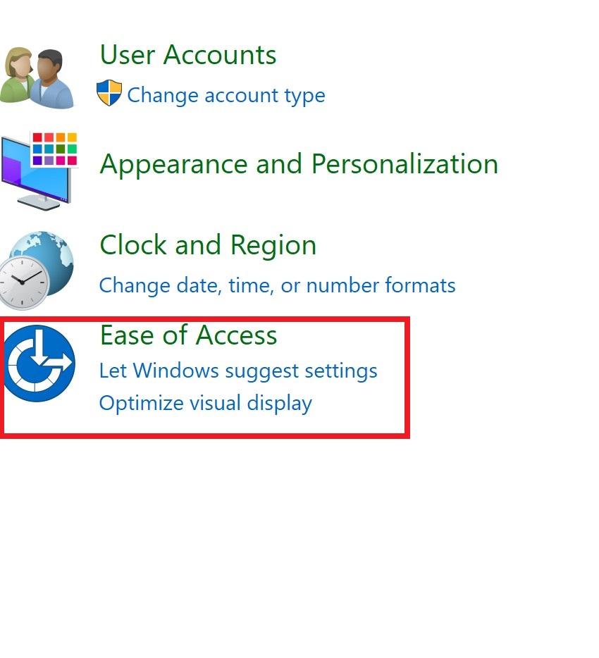 chọn Ease of Access trong control panel để truy cập vào bàn phím ảo | Nguyễn Kim