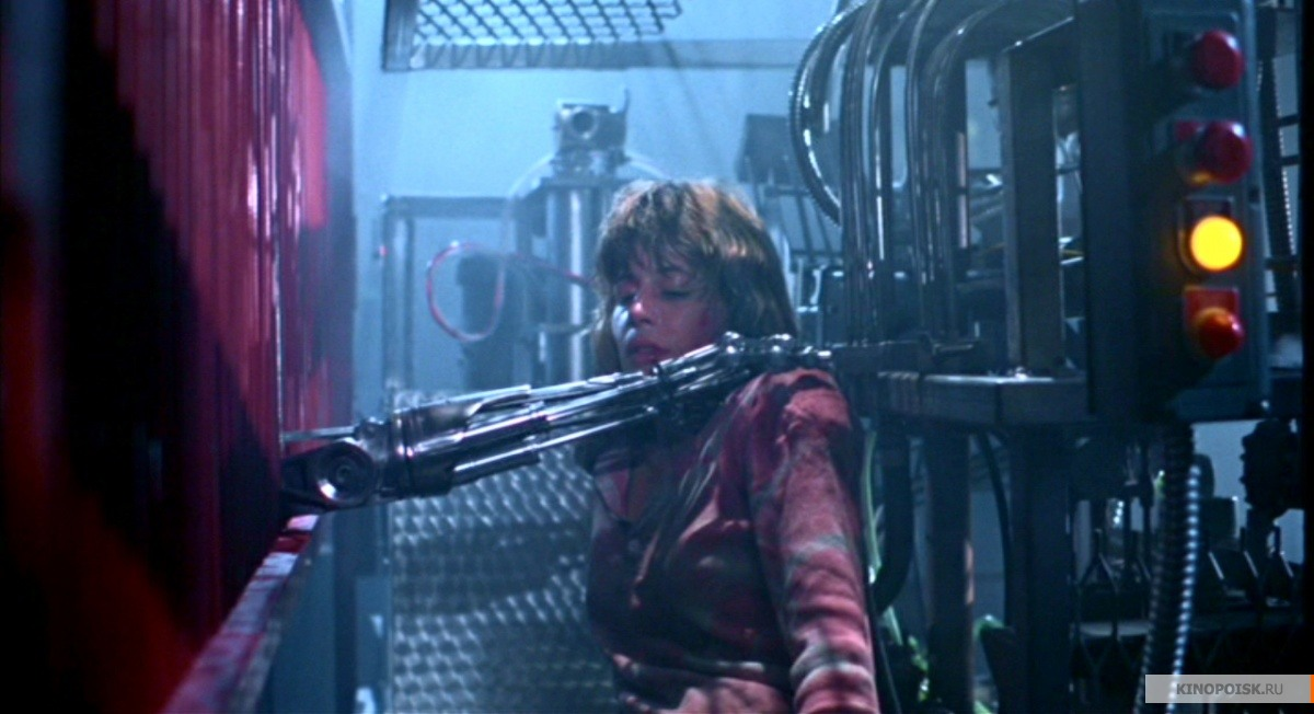 Sarah Conner in the final fight scene in The Terminator 1984