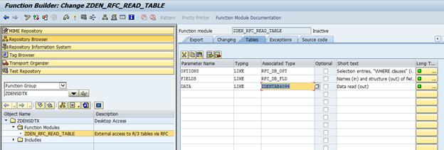 Creating an SAP extension for the Denodo RFCReadTable