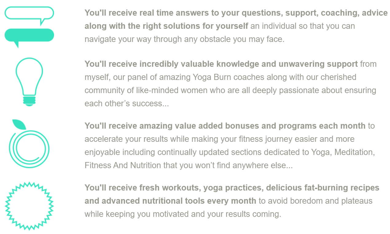 Yoga Burn's subscription service provides an online community to support members' weight loss goals.