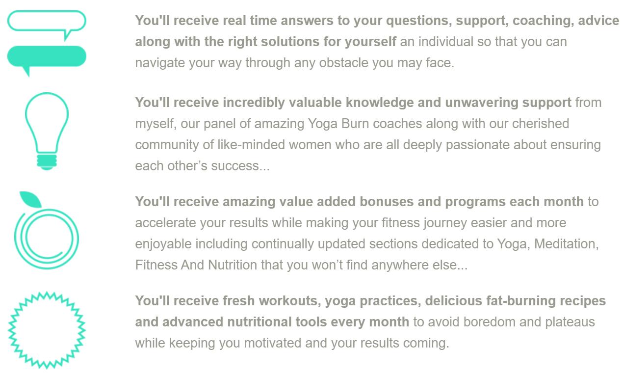 O serviço de assinatura do Yoga Burn oferece uma comunidade online para apoiar os objetivos de perda de peso dos membros.