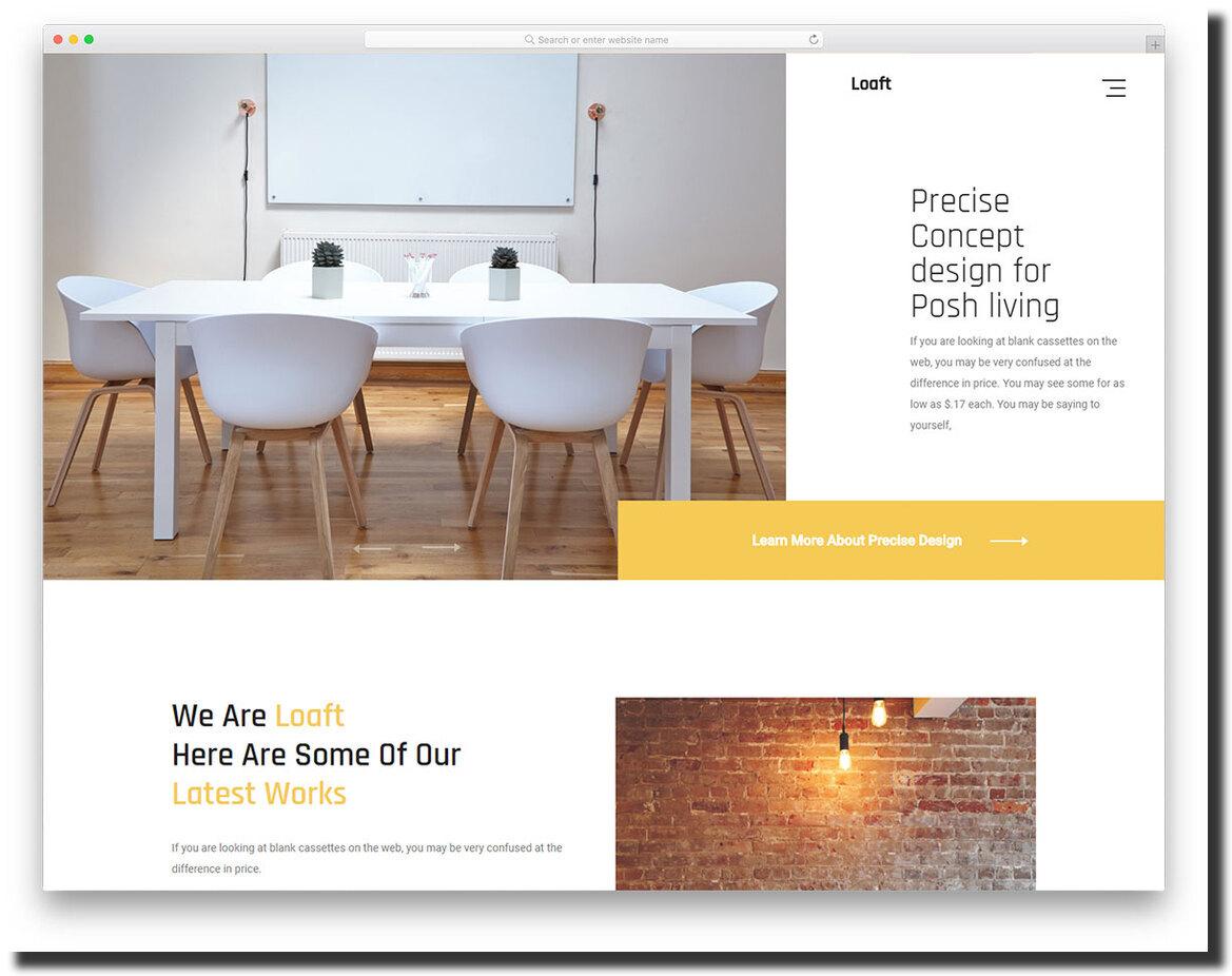 Loaft minimalistic website template