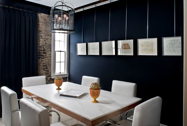 Gallery Style Walls, Dark Navy Dining Room