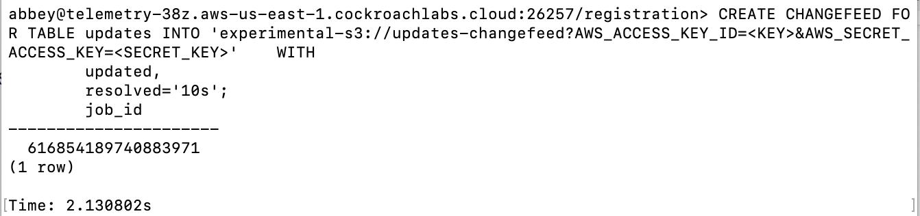 dump data from CockroachDB into S3
