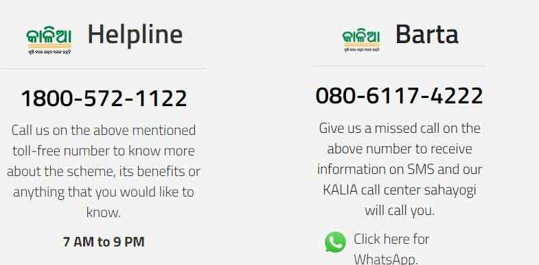Kalia Yojana Helpline Number
