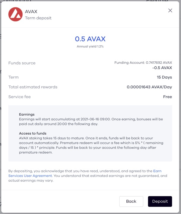 Complete deposit for Avax crypto staking