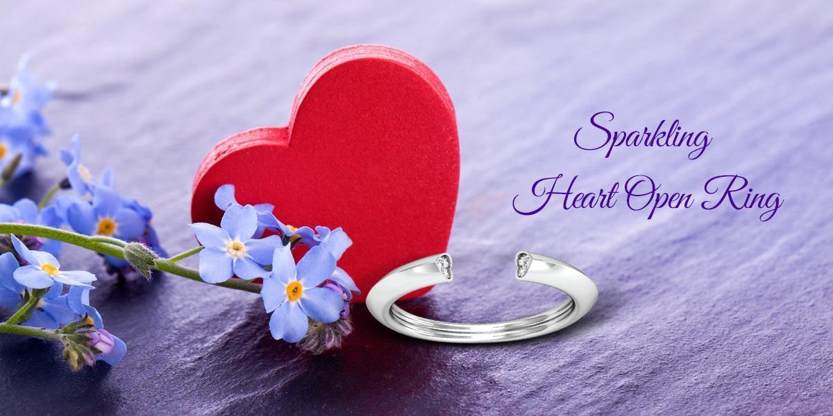 sparkling heart open ring