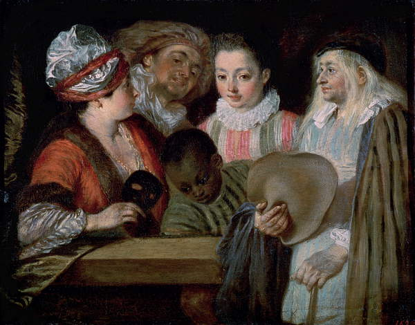 Image of Actors from the Theatre Francais, c.1714-15 (oil on canvas), the comedians of Theatre Francais also known as Coquettes; Watteau, Jean Antoine (1684-1721) / French, State Hermitage Museum, St. Petersburg, Russia, 20x25 cms, © Bridgeman Images