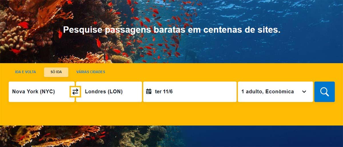 Ilustração de teste de usabilidade para reservar o voo mais barato, com exemplo do site Booking.com