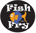 Fish Fry text graphic with a styalized fish