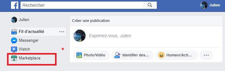 onglet ordinateur facebook marketplace