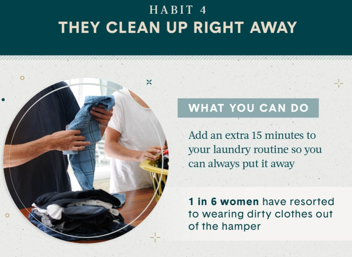 shows man and woman folding clothes in graphic Home Organization Habit 4 is cleaning up right away