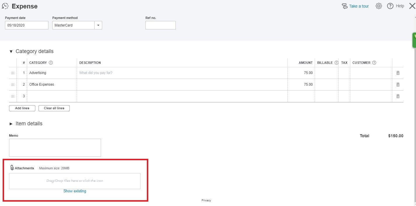 Entering Credit Card Charges in QuickBooks Online: attach a receipt