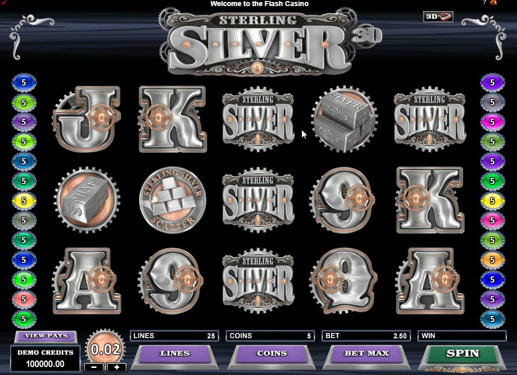 Sterling Silver 3D Slots Game