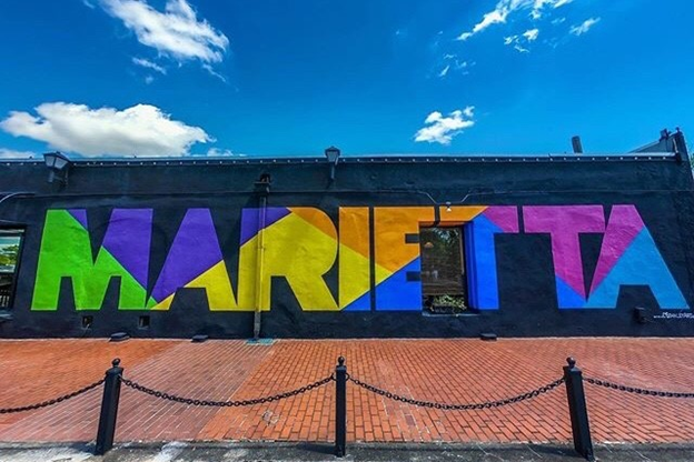 colorful Marietta mural in Marietta, GA