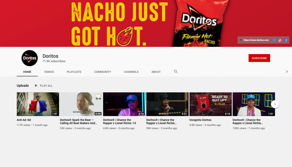 Doritos' YouTube Channel Homepage
