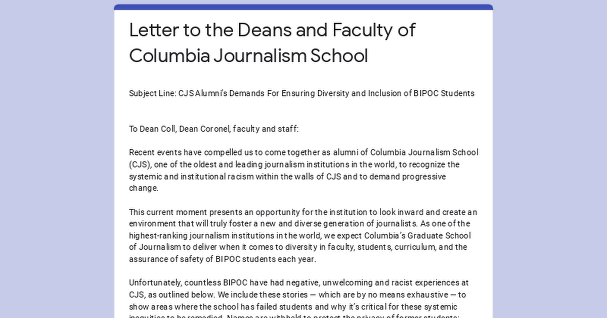 Letter to the Deans and Faculty of Columbia Journalism School