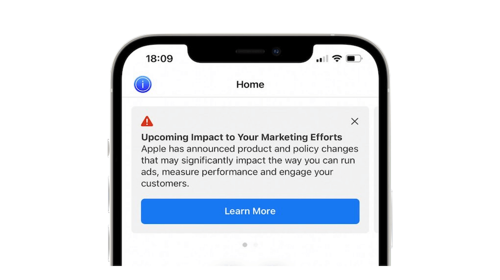 Apple iOS 14 updates showing a warning about the upcoming impact on marketing efforts