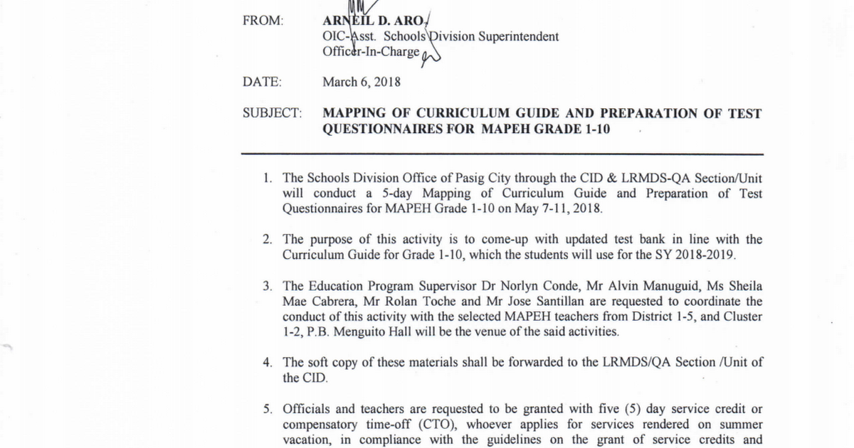 Mapping of Curriculum Guide and Preparation of Test