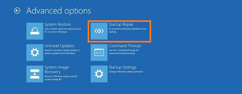 Windows 10 Startup Repair to fix loading problems