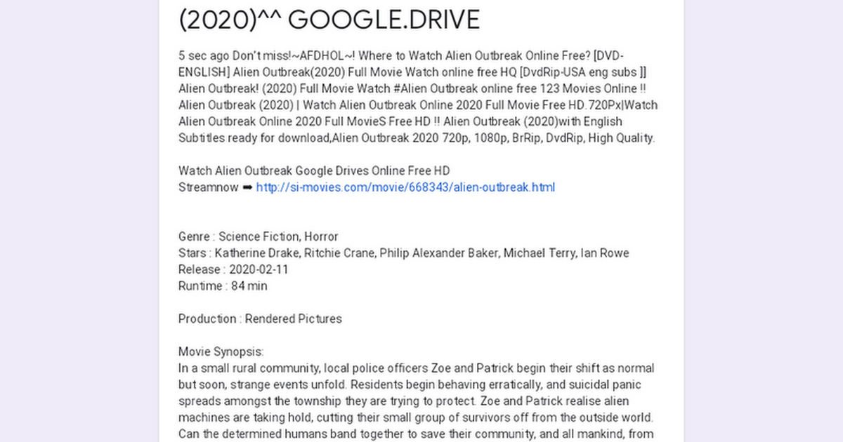 Google Docs Alien Outbreak 2020 Google Drive