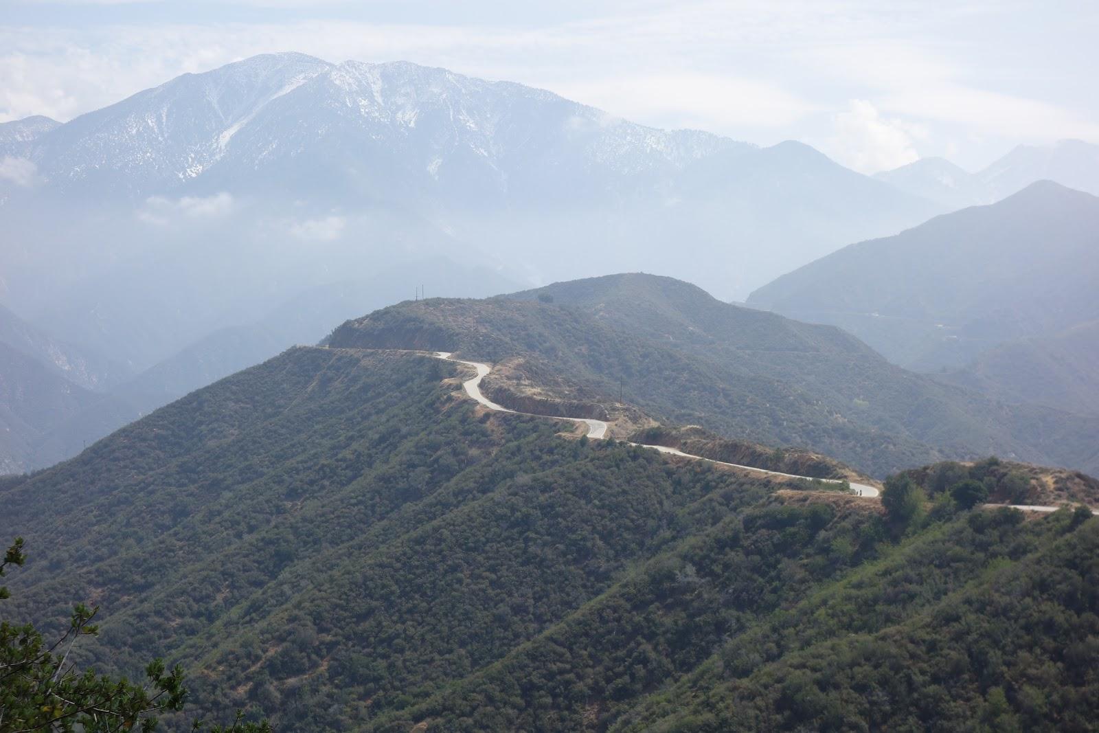 Bike climb on GMR - view of roadway and ridgeline