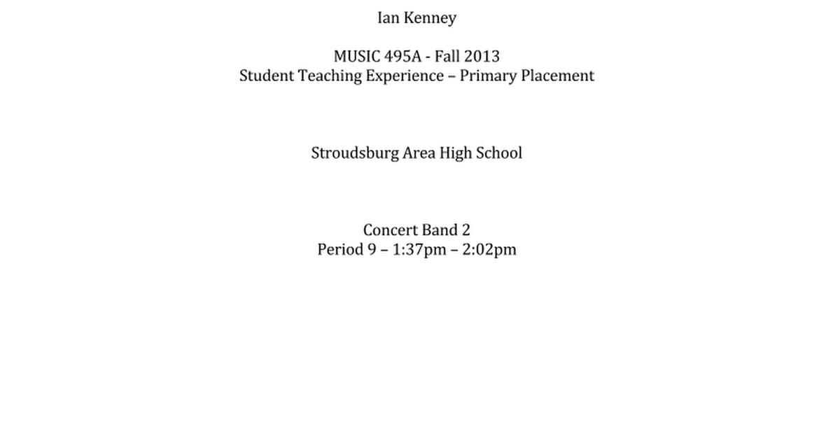 stroudsburg high school concert band ii sample lesson plans