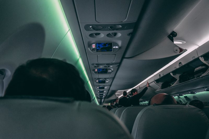 Inside of plane at night time