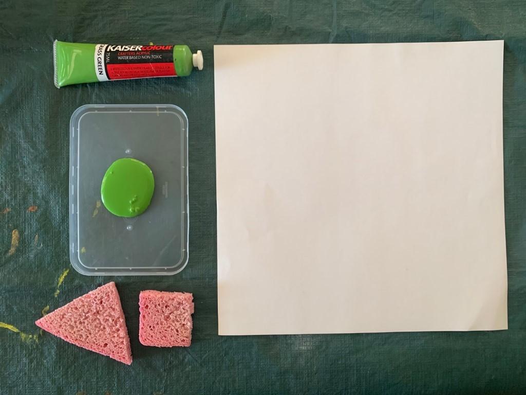 Paint, sponges, paper.