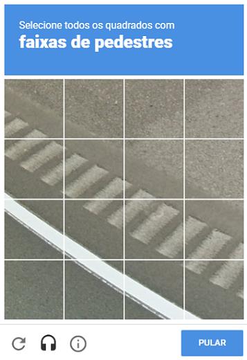 exemplo de recaptcha com imagens de faixa de pedestre