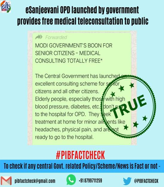 A stamp with the word true on a Whatsapp screenshot inquiring about eSanjeevani OPD. The headline states that eSanjeevani OPD launched by the government provides free medical teleconsultation to public.