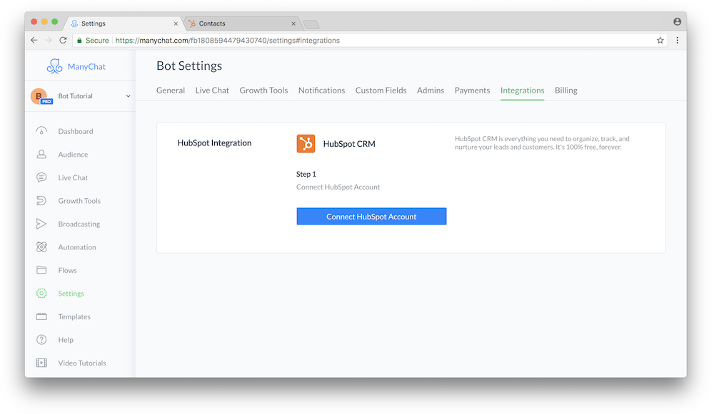 Connecting HubSpot to ManyChat account