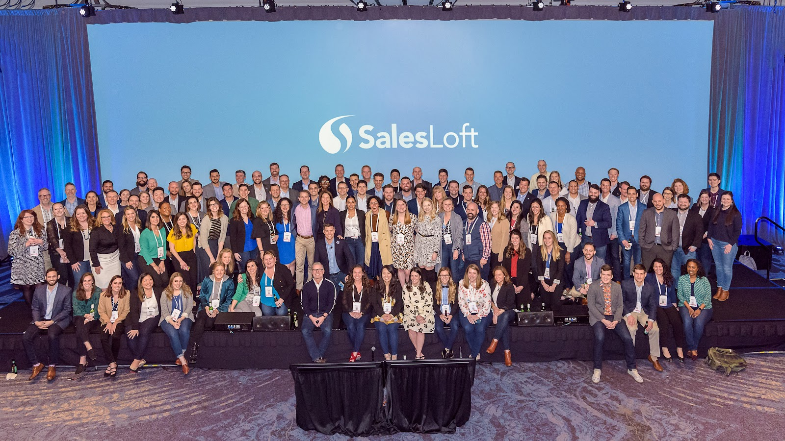 SalesLoft team gathering in a corporate event