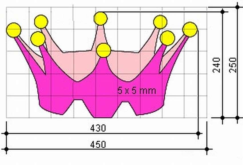 Чертеж короны для детской кроватки