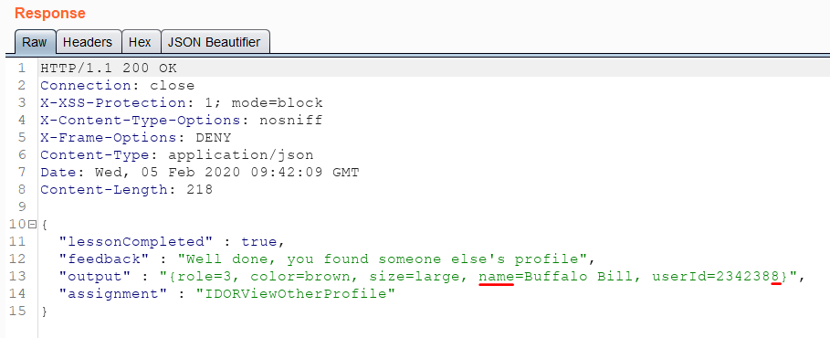 Exploiting IDOR vulnerability to disclose other profiles