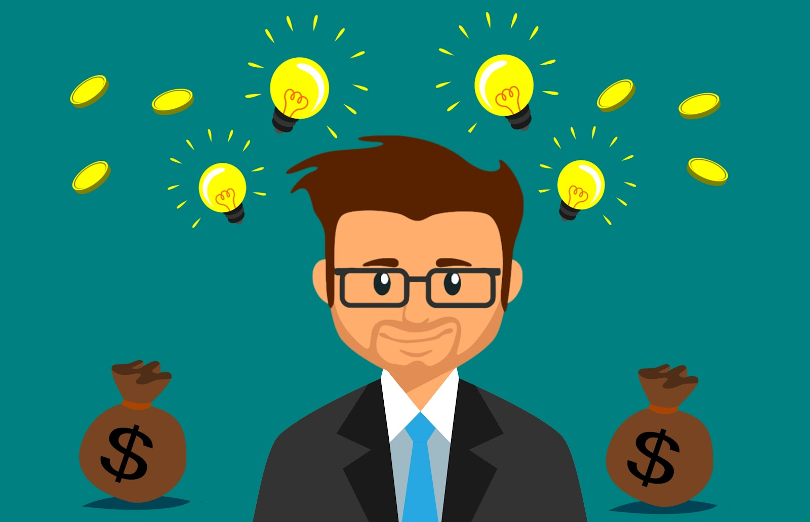 A cartoon man wearing glasses and a suit has light bulbs above his head and a bag of money by his left and right shoulders