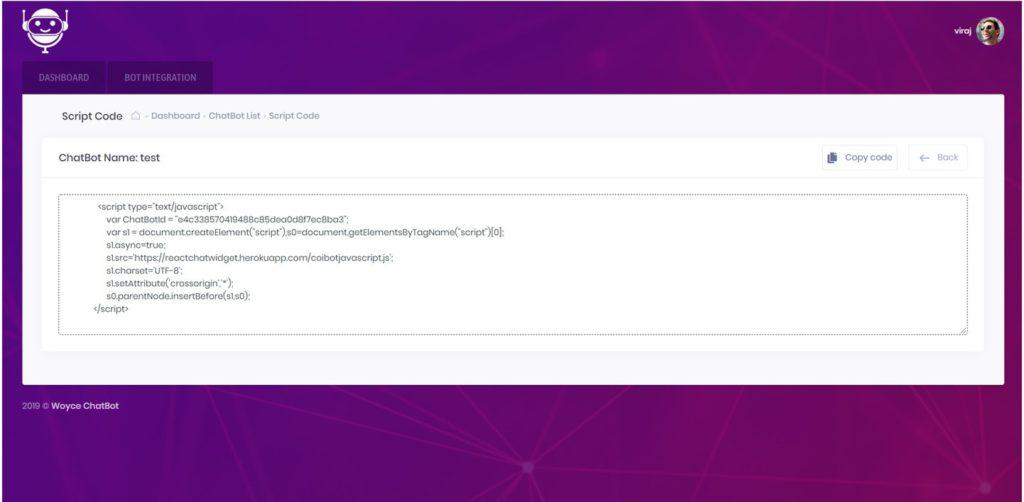 integrate dialogflow chatbot in website