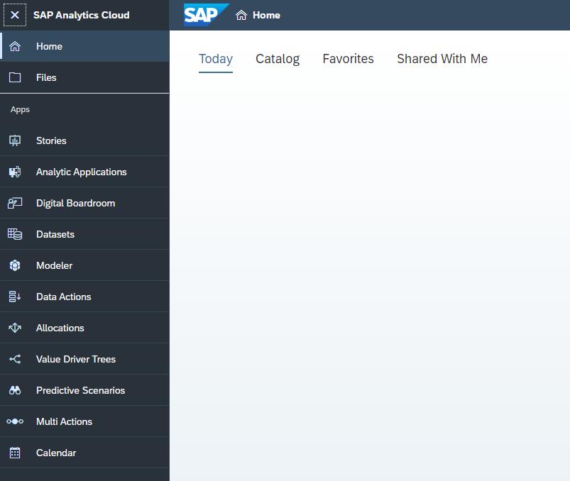 Screenshot starter page SAC