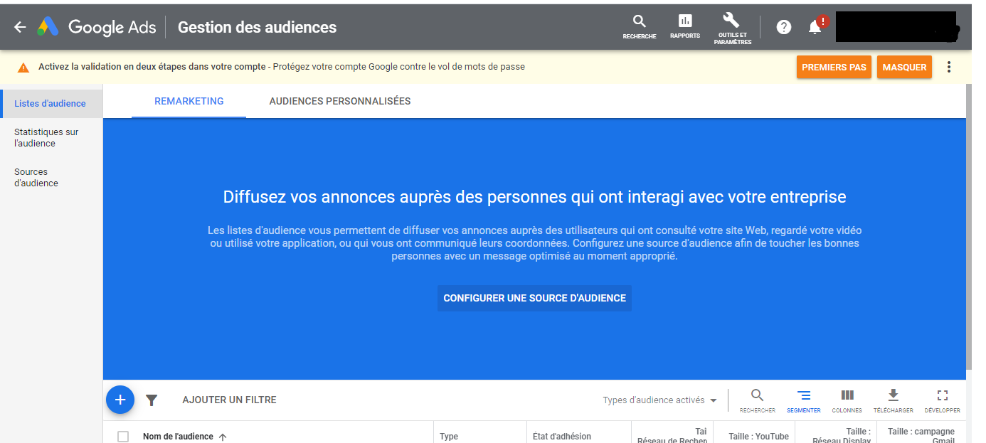 Campagne Adwords | audience cible