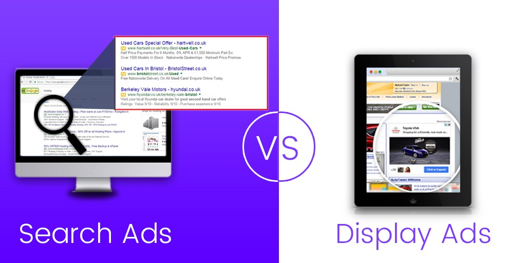Search Ads in a purple background vs. Display ads in a white background.