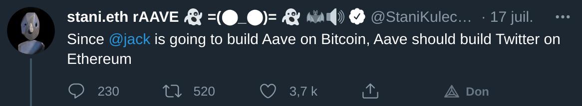 AAVE annonce vouloir créer un Twitter sur Ethereum