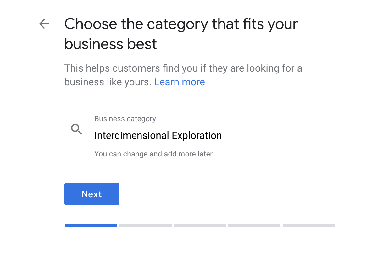 Google My Business, business category selection.