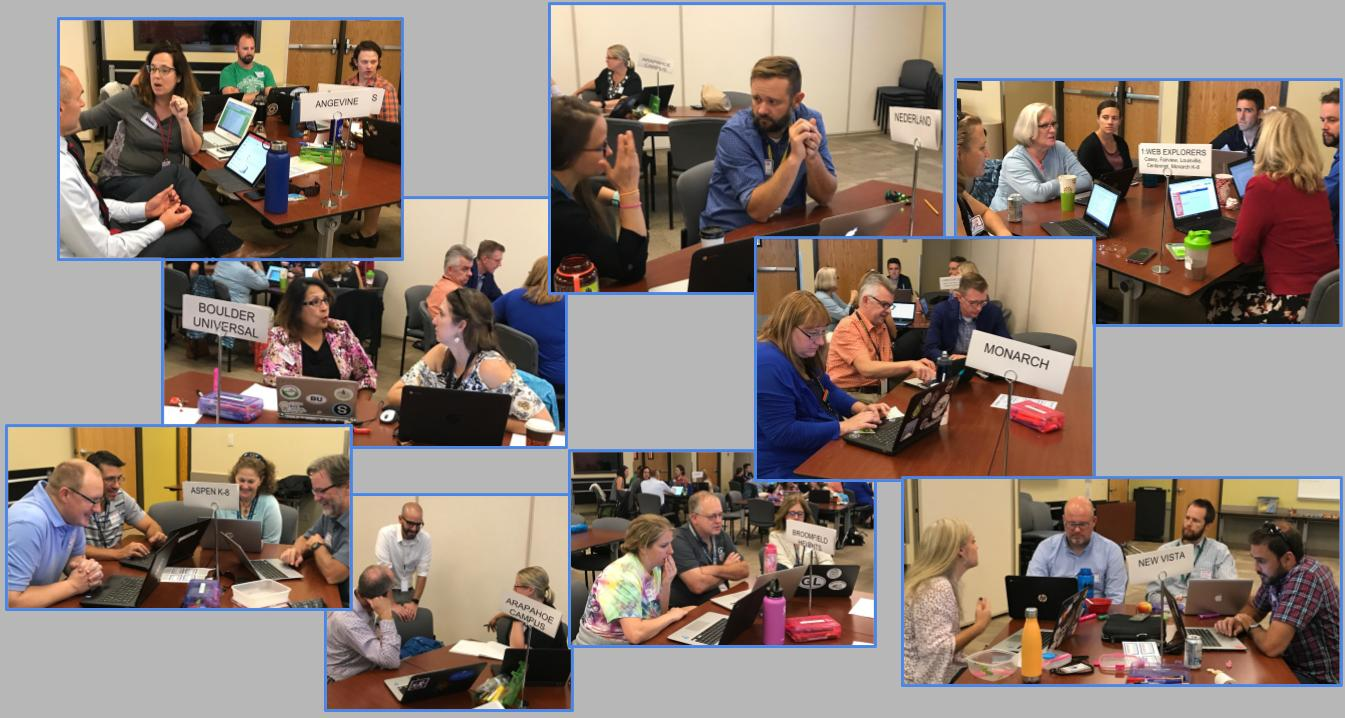 This is a picture collage of Boulder Valley School District teachers and administrators working together. Each picture has a representative group from one of the new 1:Web schools.