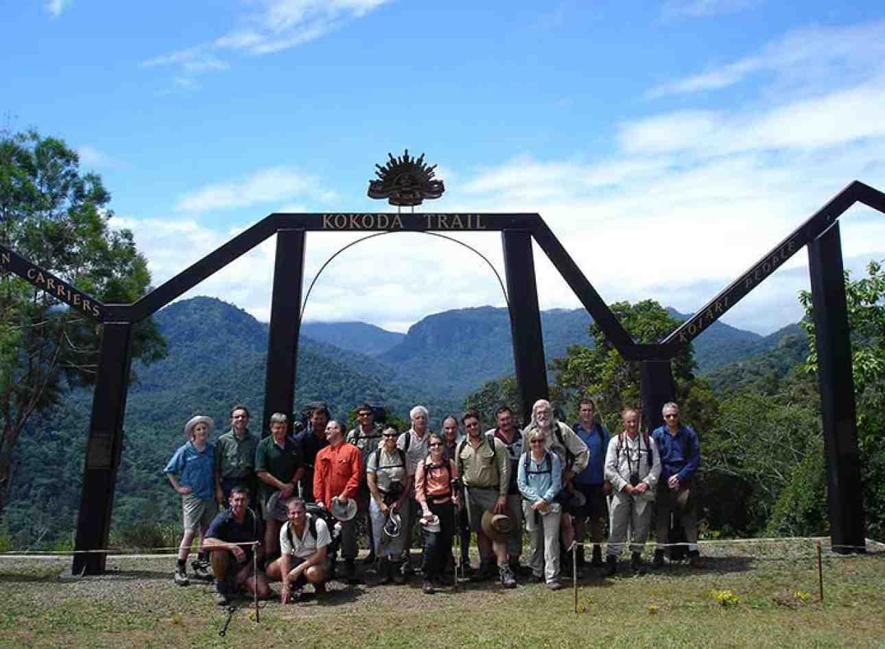 The walk along the Kokoda track can be done either way. From south to north the walk begins here at Owers' Corner and immediately descends into the valley of the Goldie River. Imita Ridge is visible in the distance. [Photo: Peter Williams]